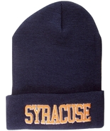 Syracuse Block Letter Adult Size Cuffed Winter Knit Beanie Hat Navy/Orange - $11.95