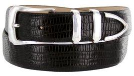 Vins Italian Calfskin Leather Designer Dress Belts for Men (32, Lizard Black) - $29.20