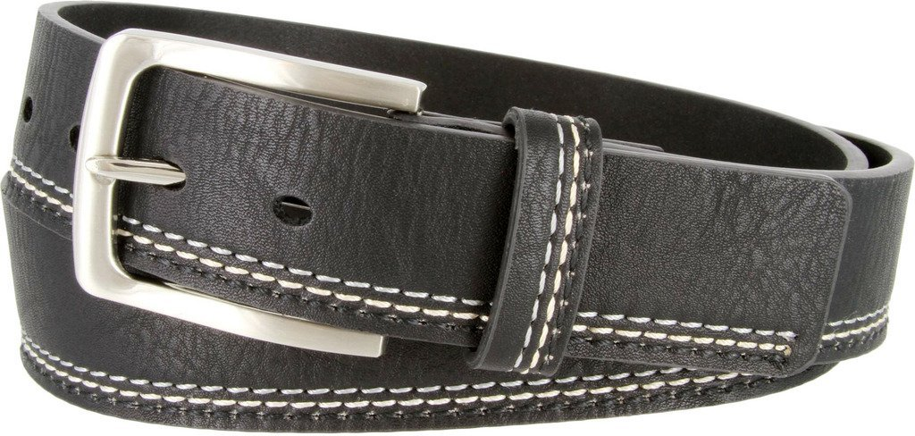Triple-Stitched Design Genuine Leather Black Casual Jean Belt for Men 40/42