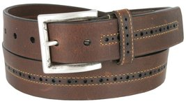 Lejon Center Stitched Perforated Oil Tanned Harness Leather Dress Belt (Brown... - $28.66