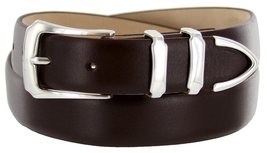 Vins Italian Calfskin Leather Designer Dress Belts for Men (54, Smooth Brown) - $29.20