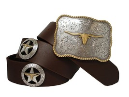 Longhorn Silver Star Western Conchos Leather Belt Brown 38 - $39.55