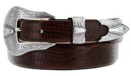 Silver Colorado Italian Calfskin Leather Designer Dress Belts for Men(50, Liz... - $29.20