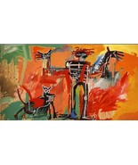 "Jean Michel Basquiat Print on Canvas Boy and Dog in a Johnnypump 20x40"" - $32.18"