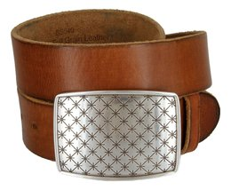 Cross Quilted Star English Silver Buckle Leather Belt for Men (Tan, 36) - $29.69