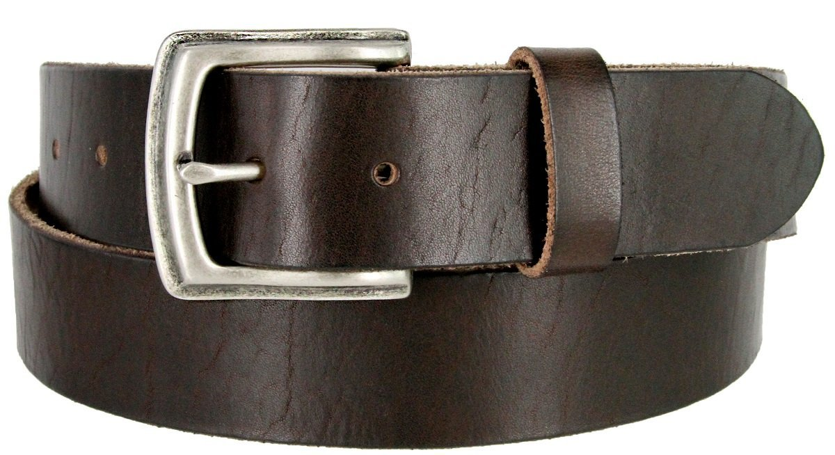 "Primary image for Men's Genuine Full Grain Leather Casual Jeans Belt 1-1/2"" = 38mm (32, Brown)"
