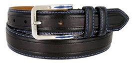 Lejon Glove Leather Double Stitched Edges Center Line Dress Belt (Black, 36) - $28.66