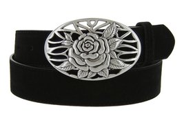 Silver Rose And Vines Buckle With Genuine Suede Leather Belt Strap In Black - $29.69