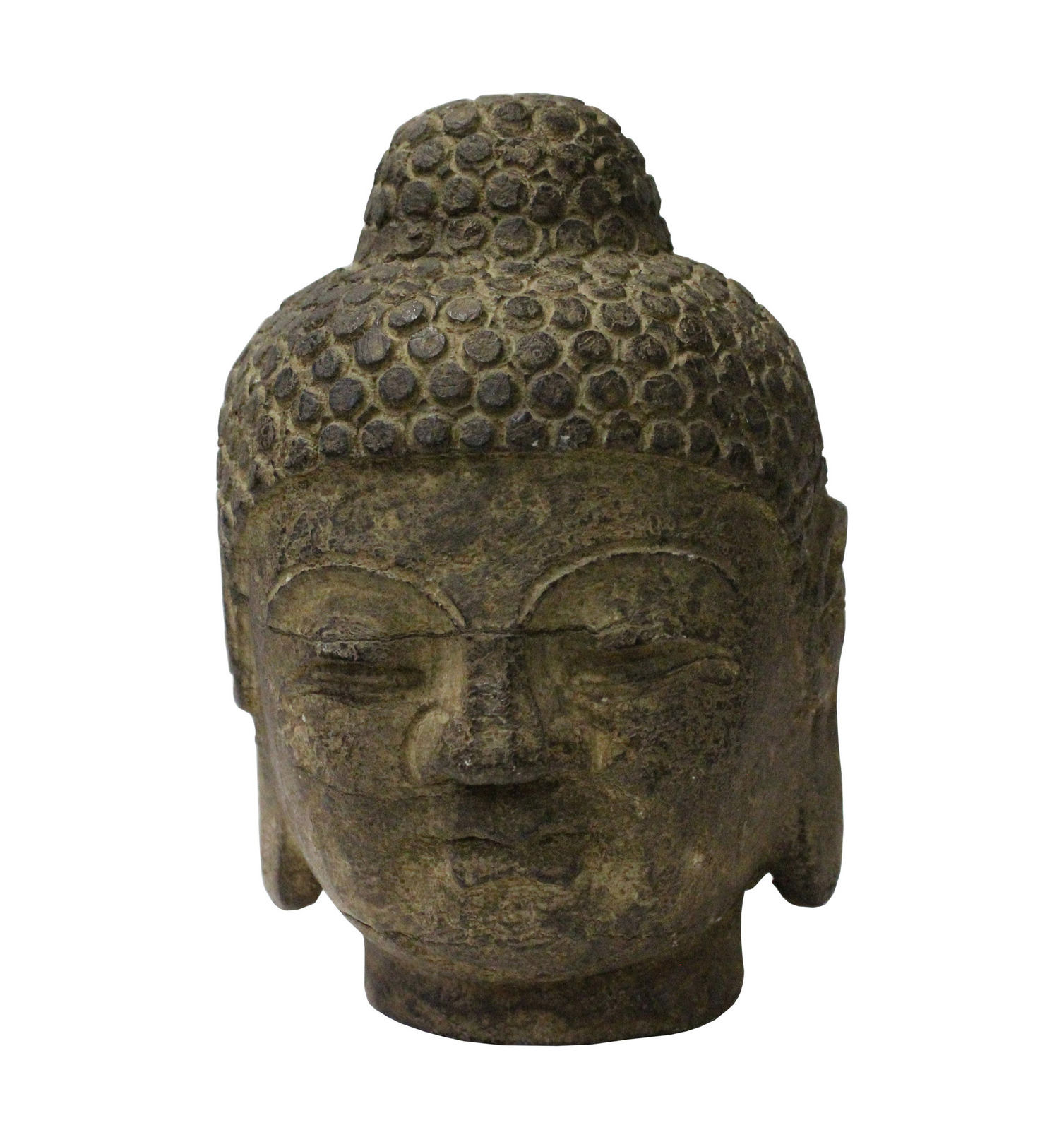 Primary image for Chinese Oriental Brown Gray Stone Carved Buddha Head Figure cs3717