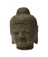 Chinese Oriental Brown Gray Stone Carved Buddha Head Figure cs3717 - $180.00