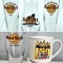 Hard Rock Cafe Maui Kona Hawaii Las Vegas 5 Glass Mug Lot Hurricane Pils... - $48.15