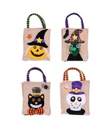 Linen Gift Bag Trick Or Treats Cartoon Animal Figure Face Patterns For H... - $9.95