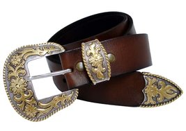 S5521 Gold Western Full Grain Leather Belt Brown 36 - $33.00