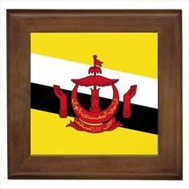 Brunei Flag Framed Wall Tile Art (Home Decor) - $12.59