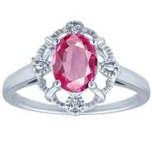 1.58 tcw Oval Cut Pink Topaz & Round Diamond Halo Vintage Antique Ring .... - £25.11 GBP