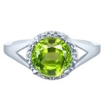 2.48 tcw Round cut Peridot & Natural Diamond Halo Split Shank Ring .925 ... - £33.71 GBP
