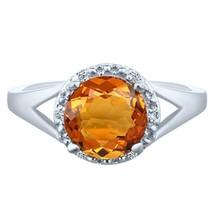1.83 tcw Round cut Citrine & Natural Diamond Halo Split Shank Ring .925 ... - £38.02 GBP