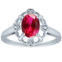 1.64 tcw Oval Cut cr Ruby & Round Diamond Halo Vintage Antique Ring .925... - £22.24 GBP