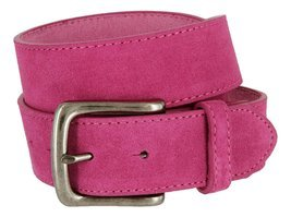 Casual Jean Suede Leather Belt for Women (Pink, 32) - $19.79