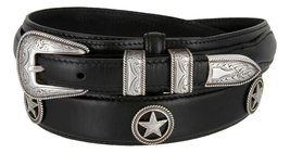Silver Star Men's Oil Tanned Leather Ranger Belt With Engraved Sterling Silve... - $36.14