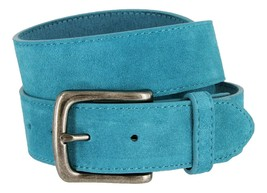Casual Jean Suede Leather Belt for Women (Blue, 44) - $19.79