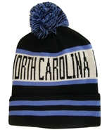 North Carolina Adult Size Striped Cuffed Winter Knit Pom Beanie Hat Blac... - $11.95