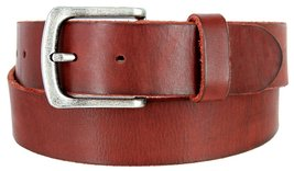 "Men's Genuine Full Grain Leather Casual Jeans Belt 1-1/2"" = 38mm (30, Burgundy) - $22.27"