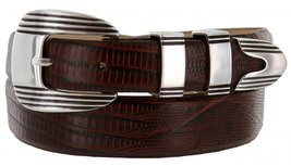 Stanley Italian Calfskin Leather Designer Dress Belts for Men(54, Lizard Brown) - $29.20