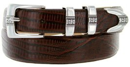 Silver Weave Italian Calfskin Leather Designer Dress Belts for Men(54, Lizard... - $29.20