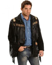 Leather Skin Men Black Western Cowboy Fringes Genuine Leather Jacket Wheel Badge - $229.99