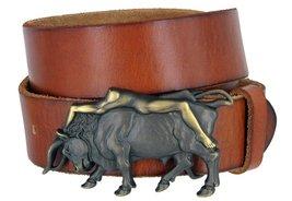 Antique Brass Naked Lady Bull Rider Genuine Leather Belt for Men (Tan, 34) - $29.69