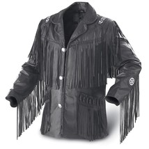 Leather Skin Men Black Western Fringes Cowboy Genuine Real Leather Jacket - $229.99