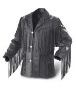 Leather Skin Men Black Western Fringes Cowboy Genuine Real Leather Jacket - $229.99