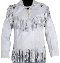 Leather Skin White Western Fringes Cowboy Genuine Real Leather Jacket - $229.99