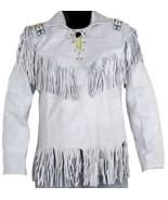 Leather Skin White Western Fringes Cowboy Genuine Real Leather Jacket - $229.99