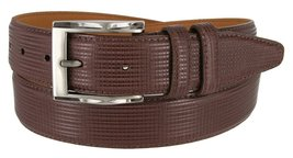 """Lejon 1-3/8"""" Brown Wide Leather Embossed Belt for Men - Made in USA (38"""") - $29.65"""
