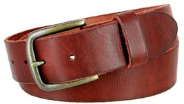 "Men's Genuine Full Grain Leather Casual Jeans Belt 1-1/2"" = 38mm (42, Burgundy) - $22.27"