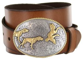 Outdoorsman Hunting Dogs & Birds Full Grain Leather Belt (Tan, 38) - $29.69
