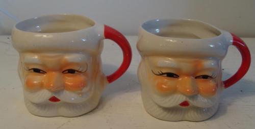 Vintage Pair Santa Mug Japan 1950's Great paint Hot chocolate Christmas toddy