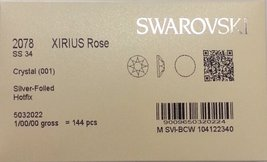 HOTFIX 34ss Crystal CLEAR 144 SWAROVSKI #2078 XIRIUS Rose Flatback Rhine... - $32.67