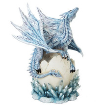 Sky Blue Dragon On Egg Shell Statue Blue Crystals Dragon Collectible - €48,52 EUR