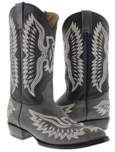Gray Stitched Embroidered Leather Cowboy Boots Western Rodeo Classic - £80.79 GBP