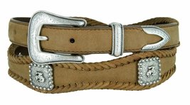 Mens Western Bucking Bronco Berry Concho Genuine Leather Scalloped Belt (Brow... - $37.57
