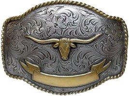 Longhorn Steer Head Western Belt Buckle with Sterling Silver Finish (Gold lon... - $16.77