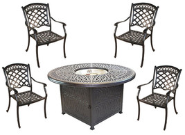 Propane fire pit table set cast aluminum 5 piece dining with Sunbrella cushions. image 1