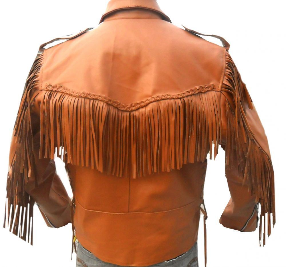 leather skin men orange western fringes cowboy genuine real leather jacket outerwear. Black Bedroom Furniture Sets. Home Design Ideas