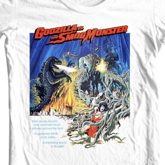 Godzilla vs smog monster t shirt vintage sci fi movie tee online store for sale tee