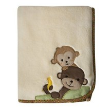 Lambs & Ivy Bedtime Originals Curly Tails Baby Blanket Monkey Soft Cozy ... - $72.66 CAD