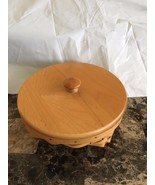 Longaberger Round Basket w/Lid & Liner Retired 2000 - $29.70
