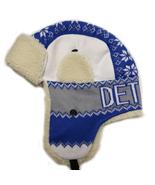 Detroit Adult Size Winter Trapper Hat Blue/White - $12.95
